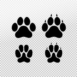 Dog or cat set paw print flat icon for animal apps and websites. Template for your graphic design. Vector illustration. Isolated on transparent background