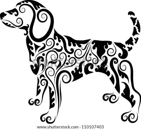 Dog ornaments animal drawing with floral ornament decoration use for