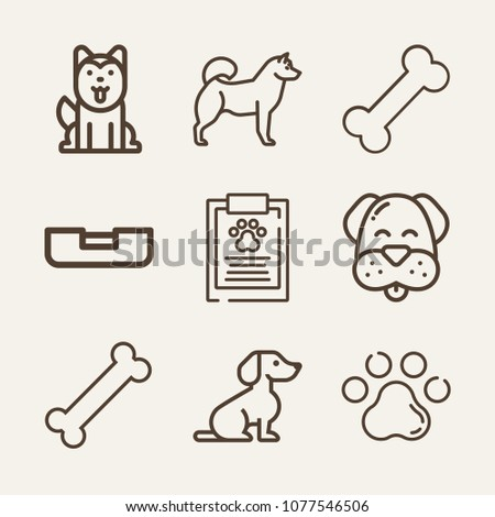 Dog outline vector icon set on wood color background such as dog, bone, siberian husky, husky, pawprint, report
