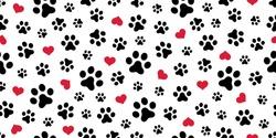 Dog Paw Cat Paw heart love puppy foot print kitten valentine vector Seamless Pattern wallpaper background