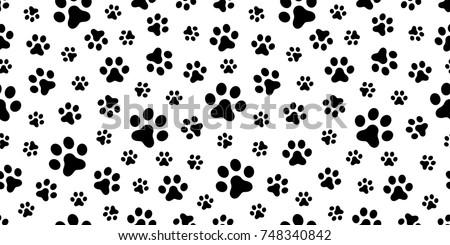 Dog Paw Cat Puppy Foot Print Kitten Vector Seamless Pattern Wallpaper Background