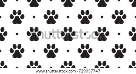 Dog Paw Cat Vector Seamless Pattern Wallpaper Polka Dot Background