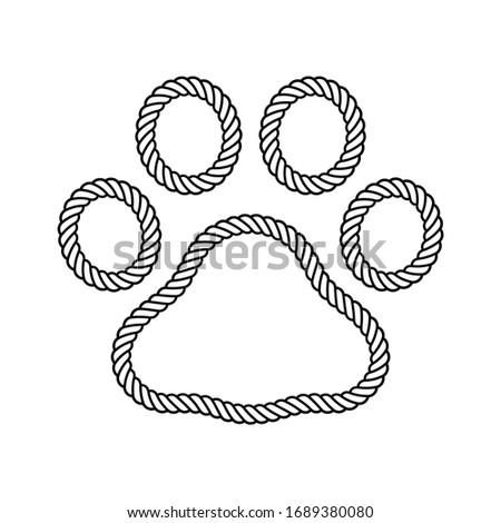 dog paw footprint icon cartoon illustration rope lasso