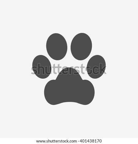Dog paw icon. Pets symbol. Flat icon on white background. Vector