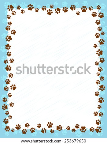 dog paw prints border   frame