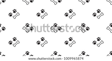 dog paw seamless pattern dog bone bulldog vector wallpaper isolated background white