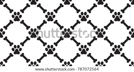 dog paw seamless pattern dog bone vector wallpaper isolated background white black