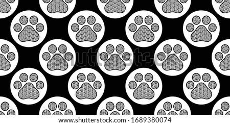 dog paw seamless pattern japan wave illustration footprint
