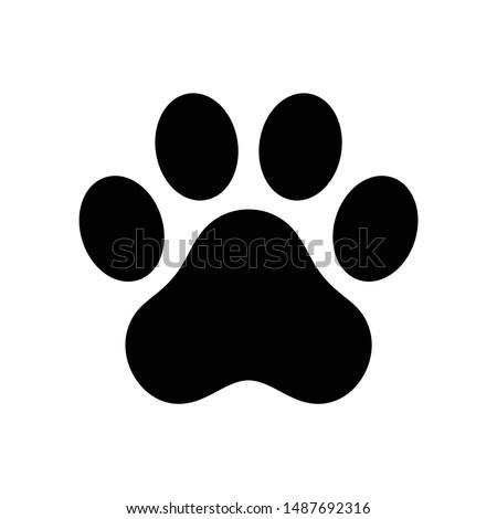 dog paw vector footprint icon french bulldog cartoon character symbol illustration doodle design