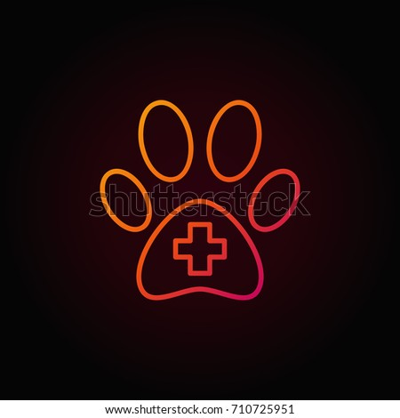 dog paw with cross inside red