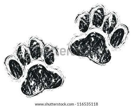 dog paws - stock vector