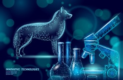 Dog pet standing with microscope lab. Low poly polygonal 3D dog silhouette companion. Animal medical center banner template vector illustration