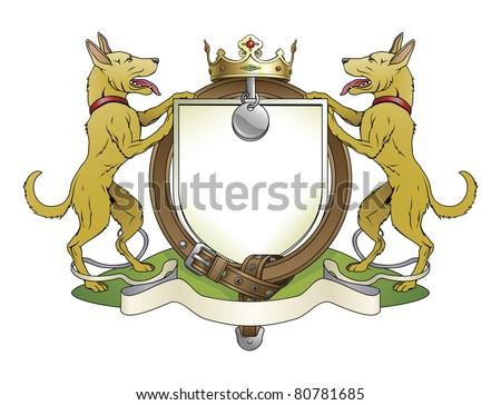 Dog pets heraldic shield coat of arms. Notice the collar instead of garter.