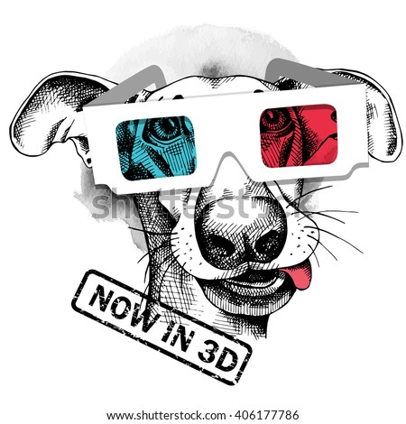 dog portrait in a 3d glasses