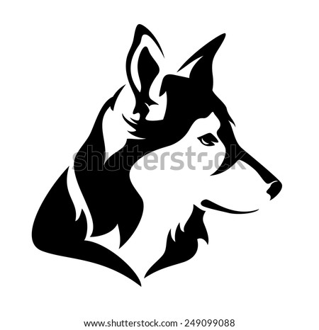 dog profile head   black and