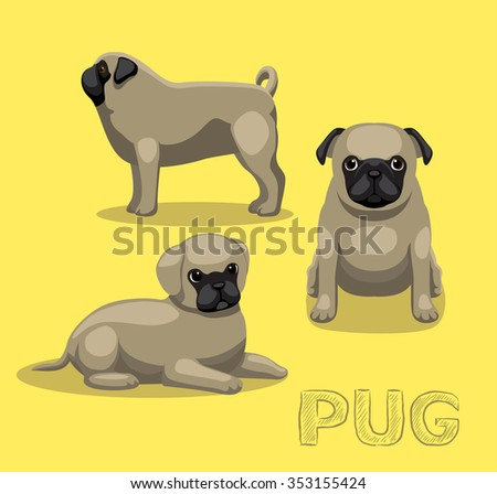 dog pug cartoon vector