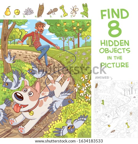 Dog pulls leash with its owner. Walk in the park. Find 8 hidden objects in the picture. Puzzle Hidden Items. Funny cartoon character