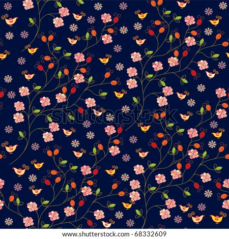 Dog rose seamless pattern with birds