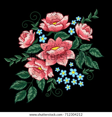 dog roses and blue flowers