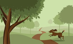 Dog Running in the park. EPS 8 vector, grouped for easy editing. No open shapes or paths.