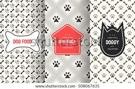Dog seamless pattern background. Vector illustration for animal pet design. Bone, paw print, puppy house. Stylish decorative label set. White black colors.