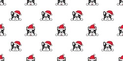 dog seamless pattern Christmas vector french bulldog Santa Claus hat scarf isolated cartoon repeat background tile wallpaper illustration design