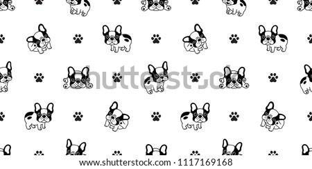 dog seamless pattern french