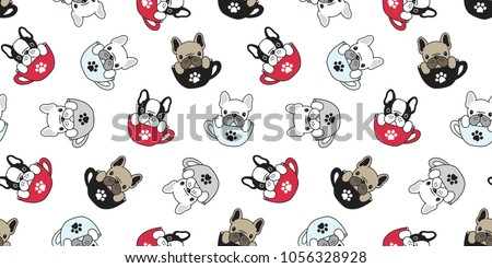 Stock Photo Dog seamless pattern french bulldog pug isolated cup paw puppy wallpaper background