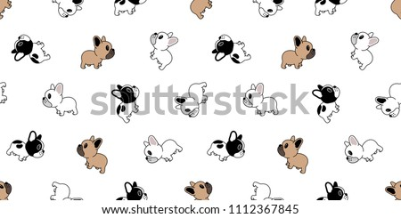 Dog seamless pattern french bulldog vector pug repeat background wallpaper cartoon tile isolated illustration