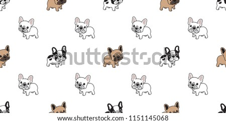 Dog seamless pattern french bulldog vector scarf isolated tile background repeat wallpaper cartoon illustration