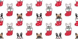 dog seamless pattern vector french bulldog Christmas sock Santa Claus Xmas snowflake candy cane dog paw cartoon isolated tile background repeat wallpaper illustration