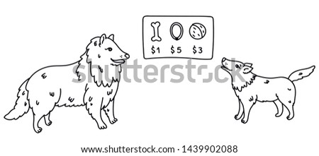 Dog sells products in pet shop