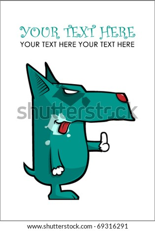 Dog showing a finger. Vector. Place for your text.