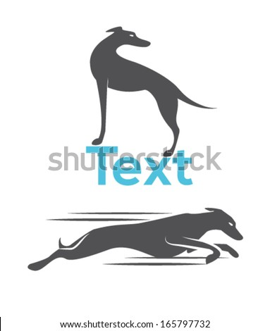 Dog silhouette greyhound racing dog
