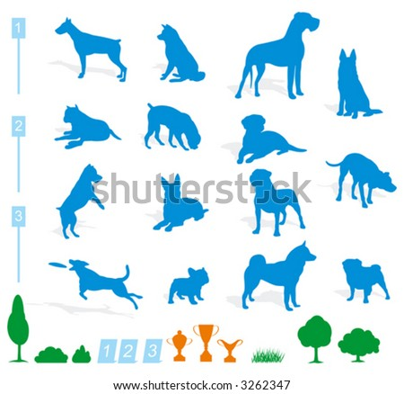 stock vector : dog silhouette (vector)