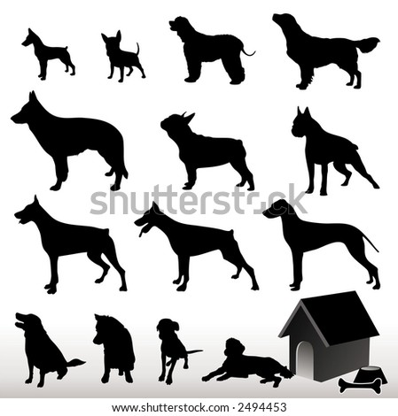 Dog Silhouettes - Vector. Easy Editable. (Check out my portfolio for other silhouettes). Enjoy