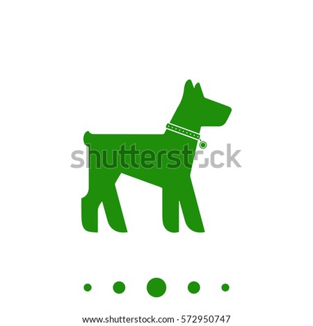 dog simple vector button flat