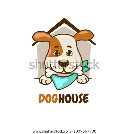 dog sitting in the dog house with bone in his mouth. vector