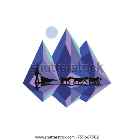 dog sledding with mountains