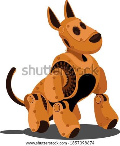 Dog steampunk robot. Unusual animal pattern mechanism vector illustration.