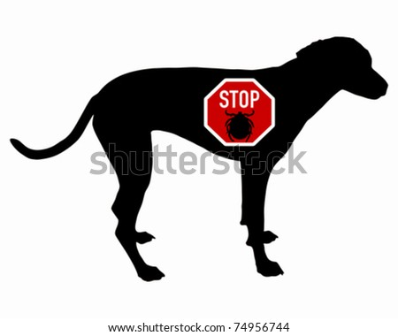 removing dog ticks. stock vector : Dog stop sign
