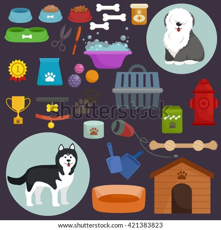 dog stuff and supply icons flat
