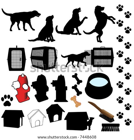 Dog Symbol Silhouettes, A Set Of Assorted Dog Poses And Pet ...