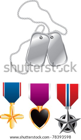 Dog tags and three medals