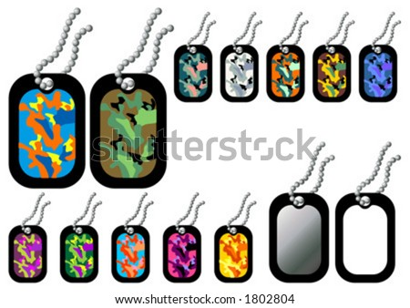 Dog-tags. Empty and with camouflage patterns in white background