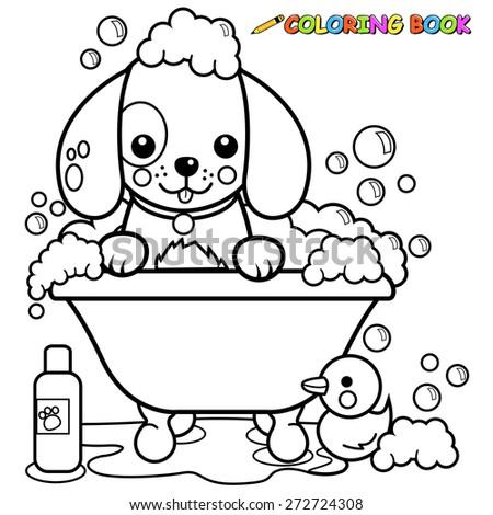 Dog Grooming Coloring Sheet