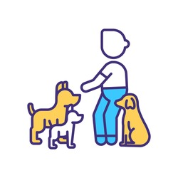 Dog trainer RGB color icon. Discipline puppy. Command from couch to doggy. Lesson for canine. Taming, behavioural training. Pet service. Domestic animal treatment. Isolated vector illustration