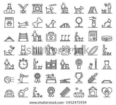 Dog training icons set. Outline set of dog training vector icons for web design isolated on white background