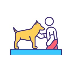 Dog training lesson RGB color icon. Command animal companion. Pet service. Domestic animal treatment. Discipline for puppy. Veterinary for domestic animals. Isolated vector illustration