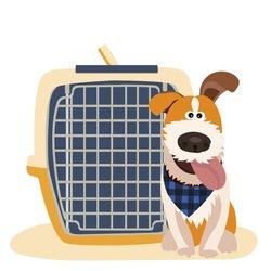 Dog transport box. Carrying case. Vector illustration